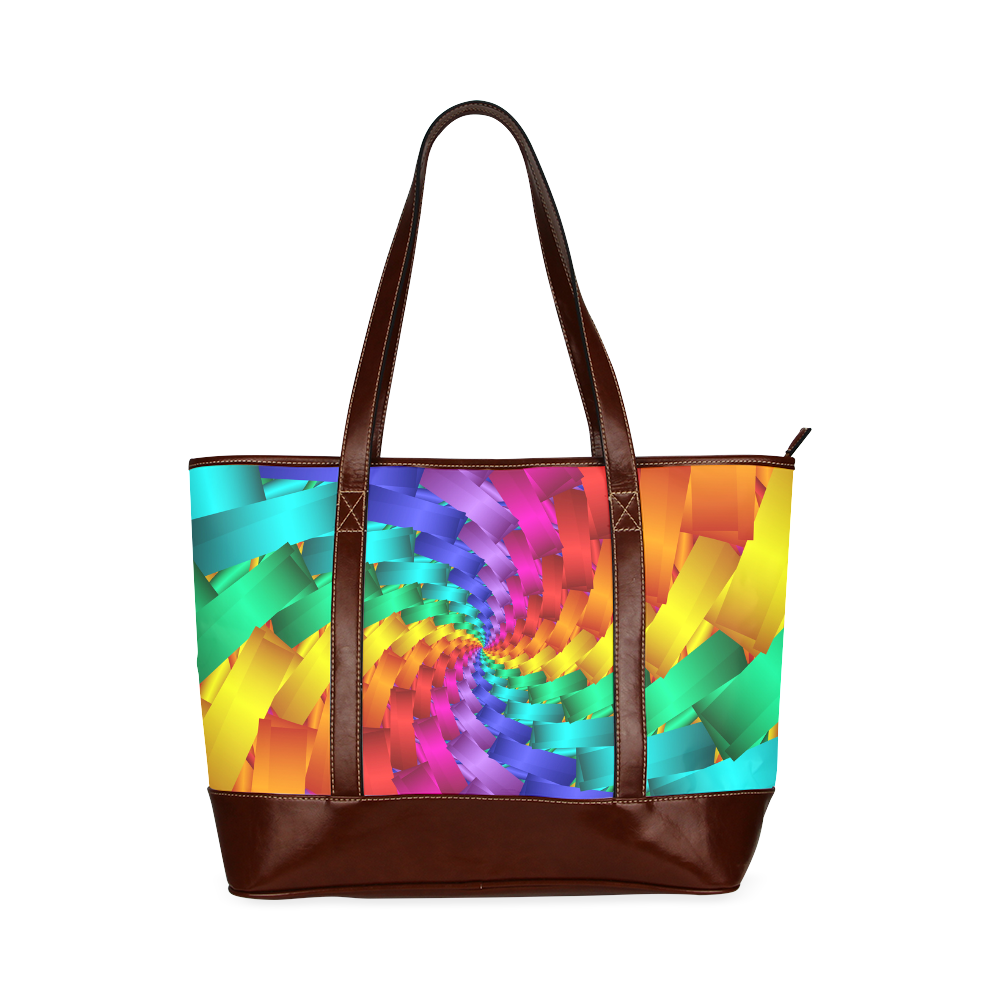 "Psychedelic Rainbow Spiral Tote Bag 11"" Tote Handbag (Model 1642)"