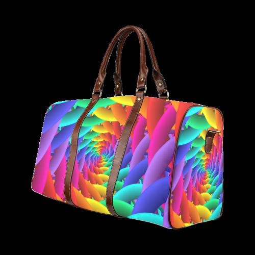 Psychedelic Rainbow Spiral Waterproof Travel Bag Waterproof Travel Bag/Large (Model 1639)