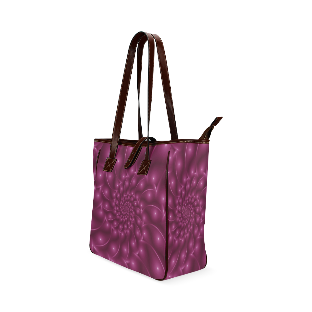 Glossy Berry Pink Spiral Tote Bag Classic Tote Bag (Model 1644)