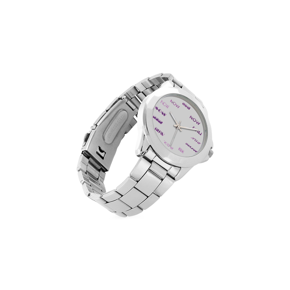 Funny Purple Now Unisex Stainless Steel Watch(Model 103)