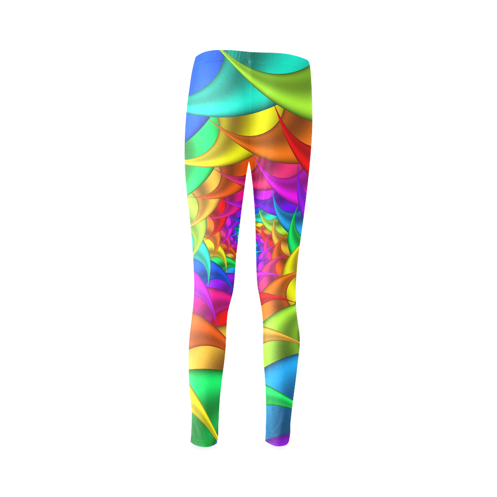 Psychedelic Rainbow Spiral Cassandra Women's Leggings (Model L01)