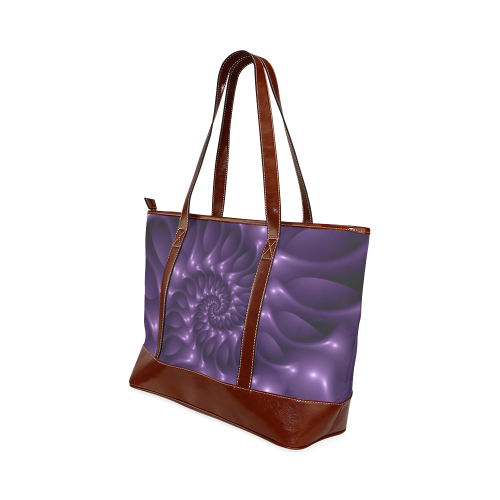 Purple Glossy Spiral Tote Handbag (Model 1642)