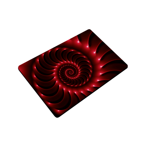 "Glossy Red Spiral Doormat 24"" x 16"""