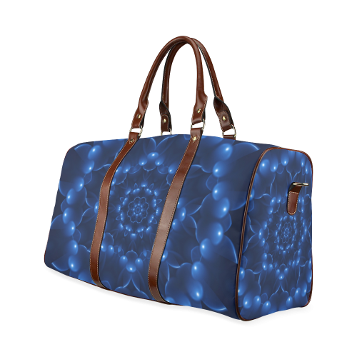 Blue Glossy Spiral Waterproof Travel Bag/Large (Model 1639)