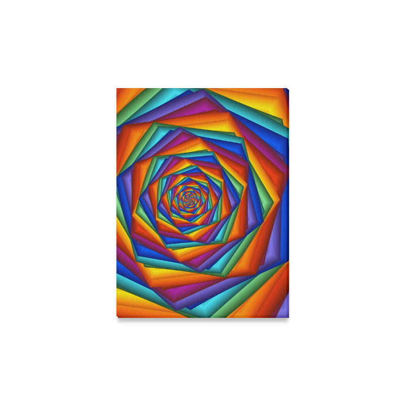 "Psychedelic Rainbow Spiral Canvas Print 16""x12"""