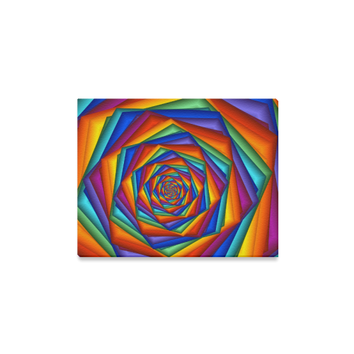 """Psychedelic Rainbow Spiral Canvas Print 14""""x11"""""""