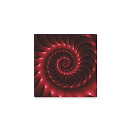 """Glossy Red Spiral Canvas Print 6""""x6"""""""