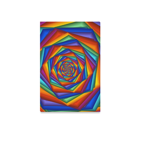 """Psychedelic Rainbow Spiral Canvas Print 12""""x18"""""""