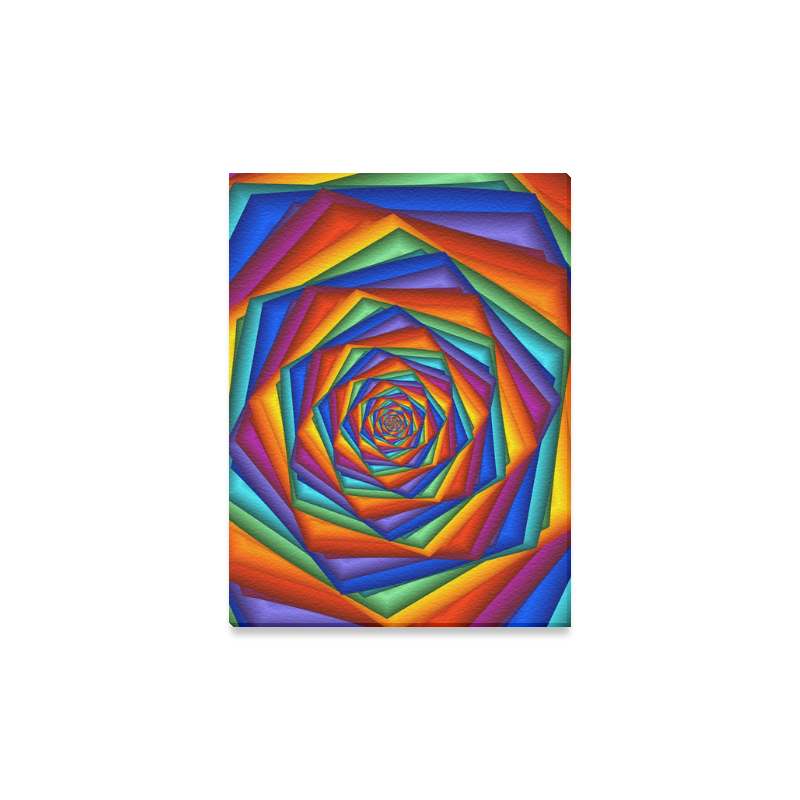 """Psychedelic Rainbow Spiral Canvas Print 12""""x16"""""""