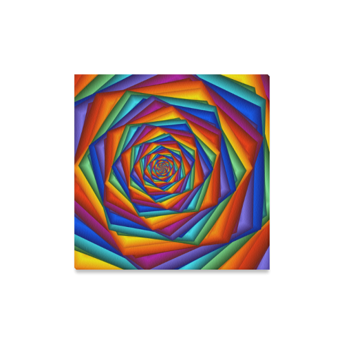 """Psychedelic Rainbow Spiral Canvas Print 16""""x16"""""""