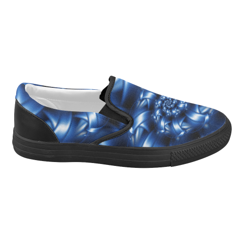 Glossy Blue Spiral Women's Slip-on Canvas Shoes (Model 019)