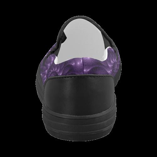 Glossy Purple Spiral Women's Slip-on Canvas Shoes (Model 019)