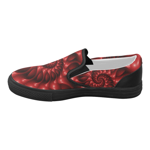Glossy Red Spiral Women's Slip-on Canvas Shoes (Model 019)