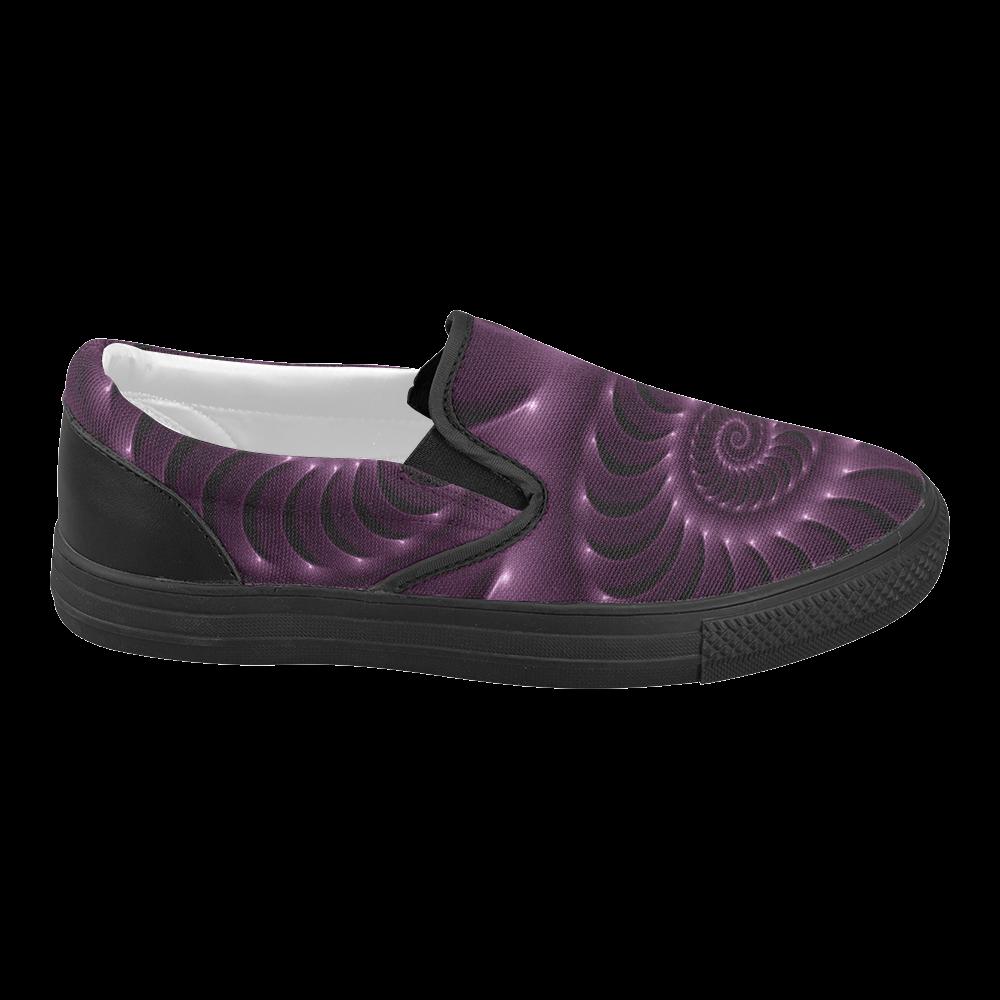 Glossy Plum Purple Spiral Women's Slip-on Canvas Shoes (Model 019)