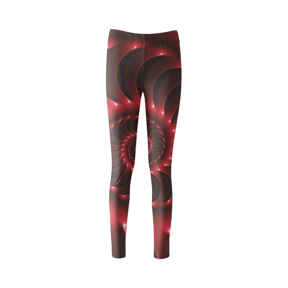 Glossy Red Spiral Cassandra Women's Leggings (Model L01)