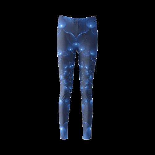 Glossy Blue Spiral Cassandra Women's Leggings (Model L01)