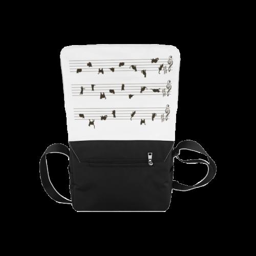 Conceptual Cat Song Musical Notes Messenger Bag (Model 1628)