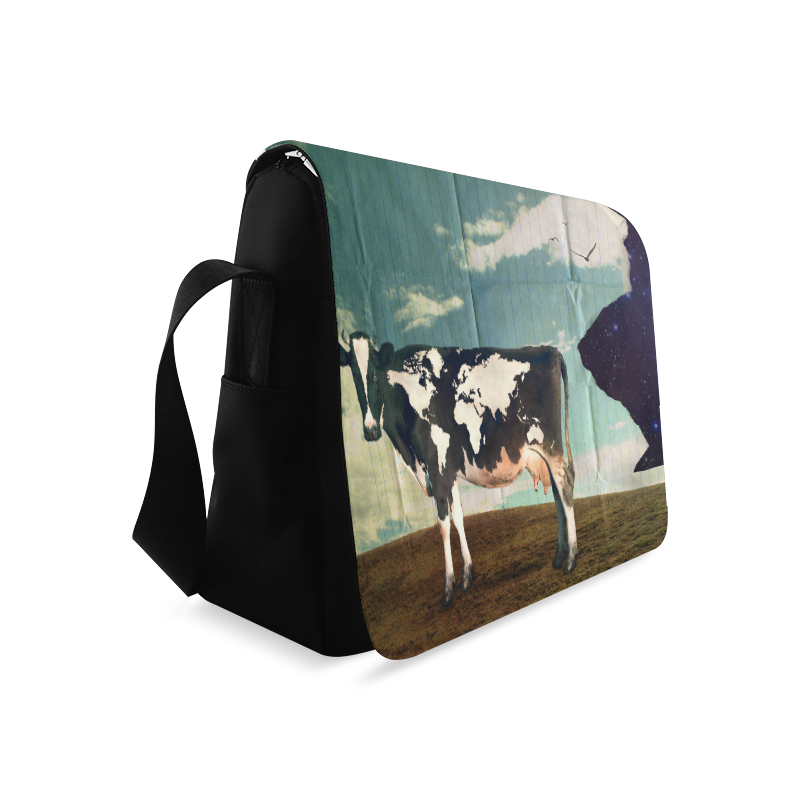 Surreal Dairy Cow World Map Messenger Bag (Model 1628)