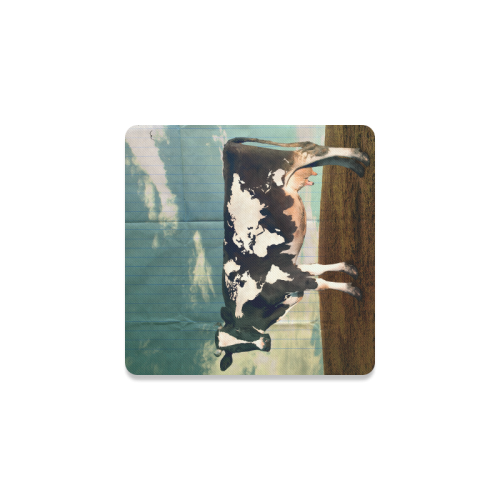 Surreal Dairy Cow World Map Square Coaster