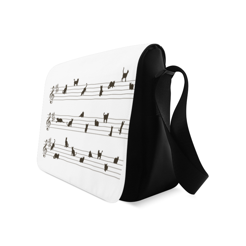 Conceptual Cat Song Musical Notes Messenger Bag (Model 1628)