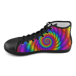 Psychedelic Rainbow Spiral High Top Canvas Kid's Shoes (Model 002)