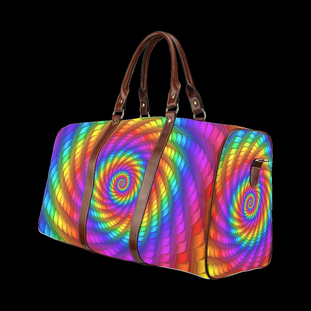 Psychedelic Rainbow Spiral Waterproof Travel Bag/Large (Model 1639)