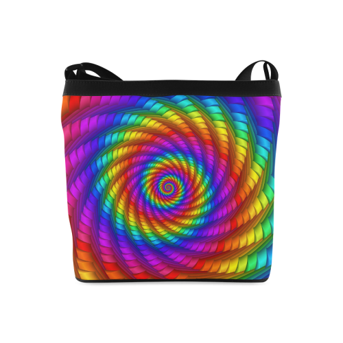Psychedelic Rainbow Spiral Crossbody Bags (Model 1613)