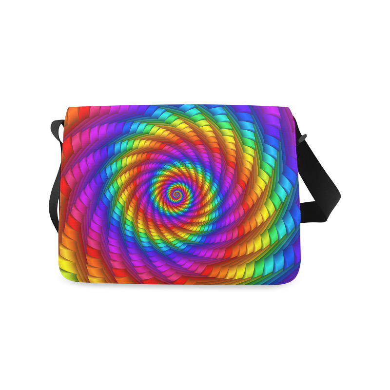 Psychedelic Rainbow Spiral Messenger Bag (Model 1628)