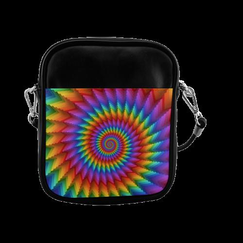 Psychedelic Rainbow Spiral Sling Bag (Model 1627)