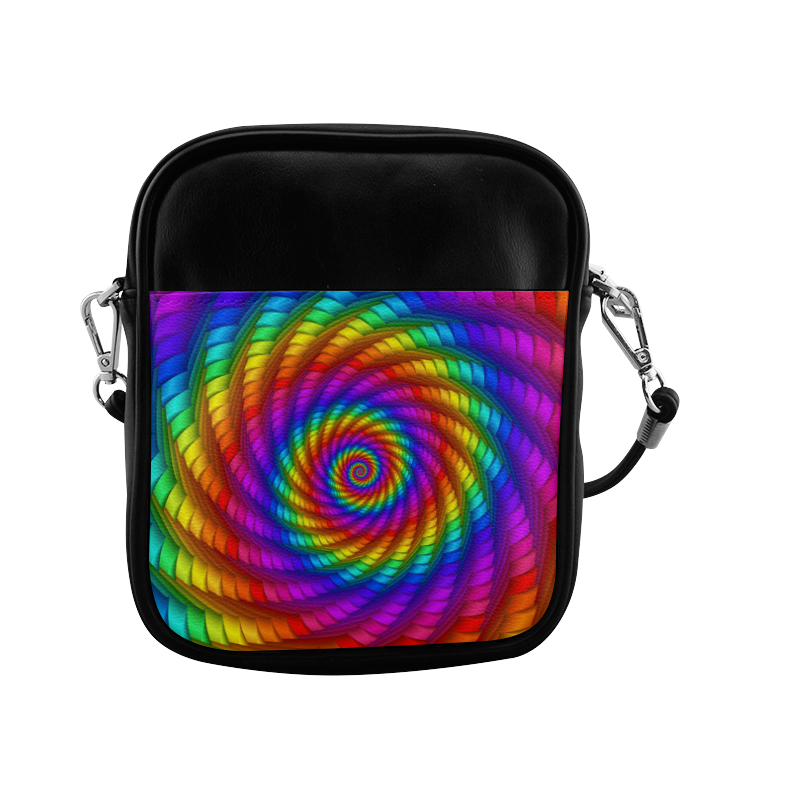 Psychedelic Rainbow Spiral Sling Bag (Model 1627)