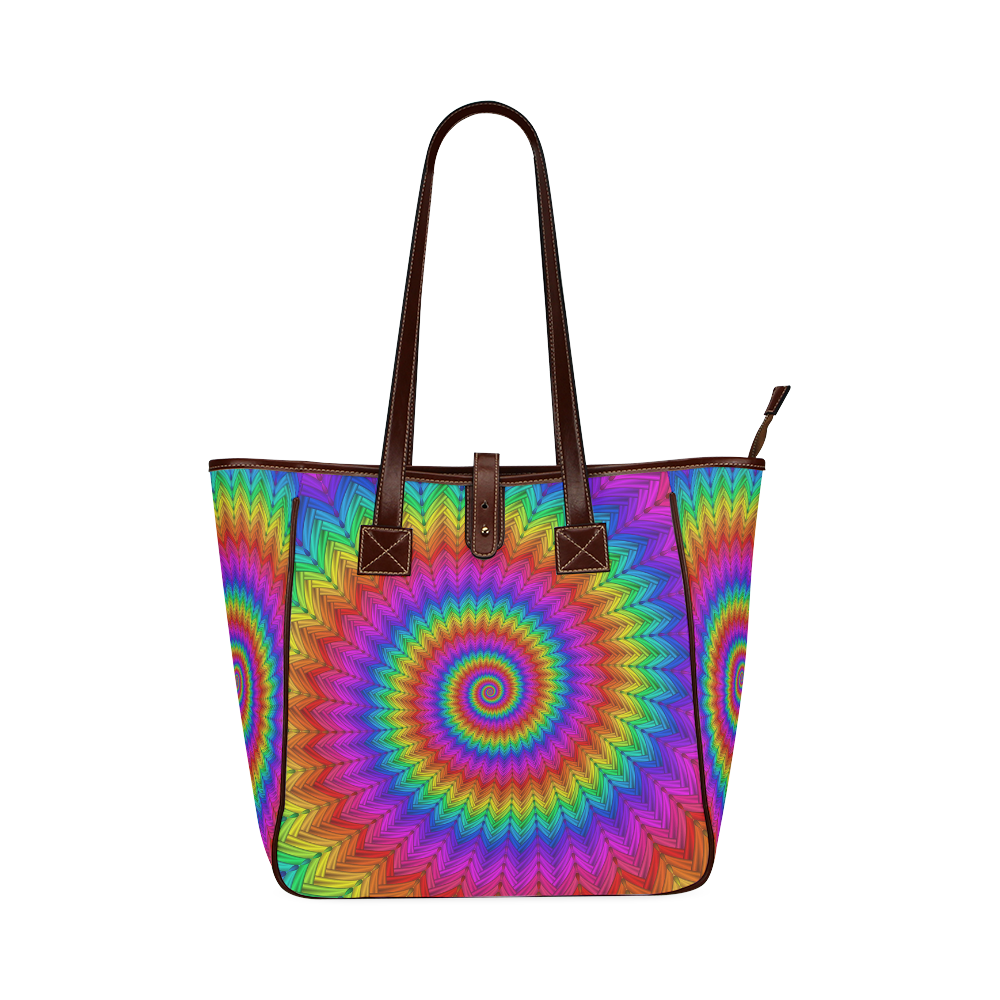 Psychedelic Rainbow Spiral Classic Tote Bag (Model 1644)