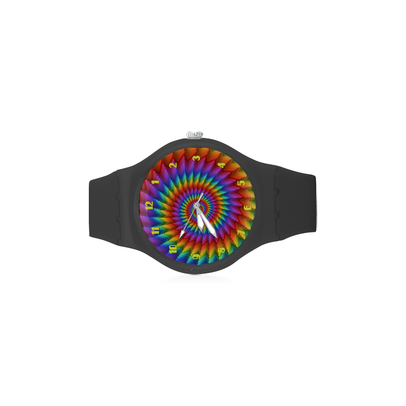 Psychedelic Rainbow Spiral Unisex Round Rubber Sport Watch(Model 314)