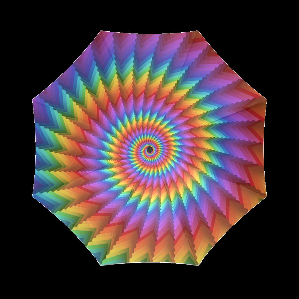 Psychedelic Rainbow Spiral Foldable Umbrella (Model U01)