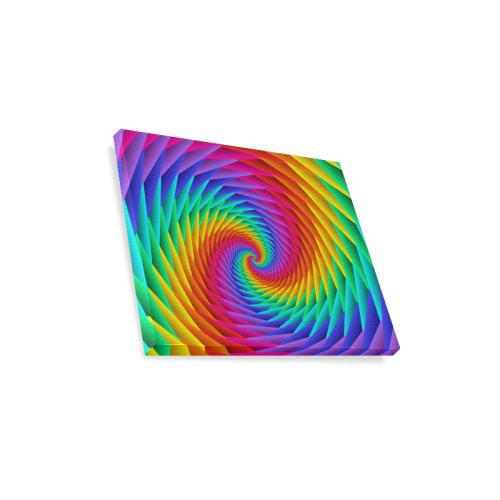 "Psychedelic Rainbow Spiral Canvas Print 14""x11"""