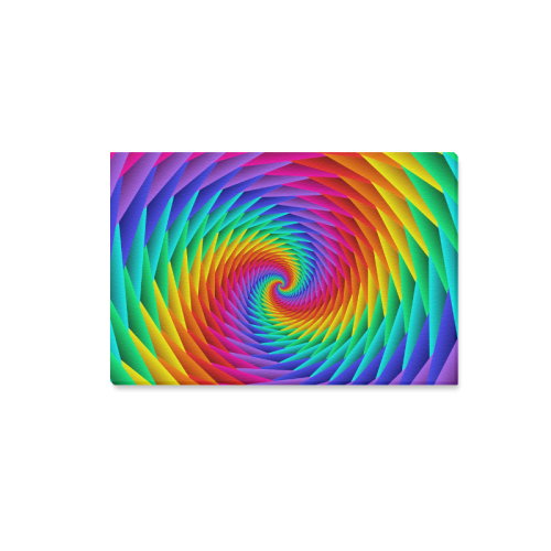 """Psychedelic Rainbow Spiral Canvas Print 18""""x12"""""""