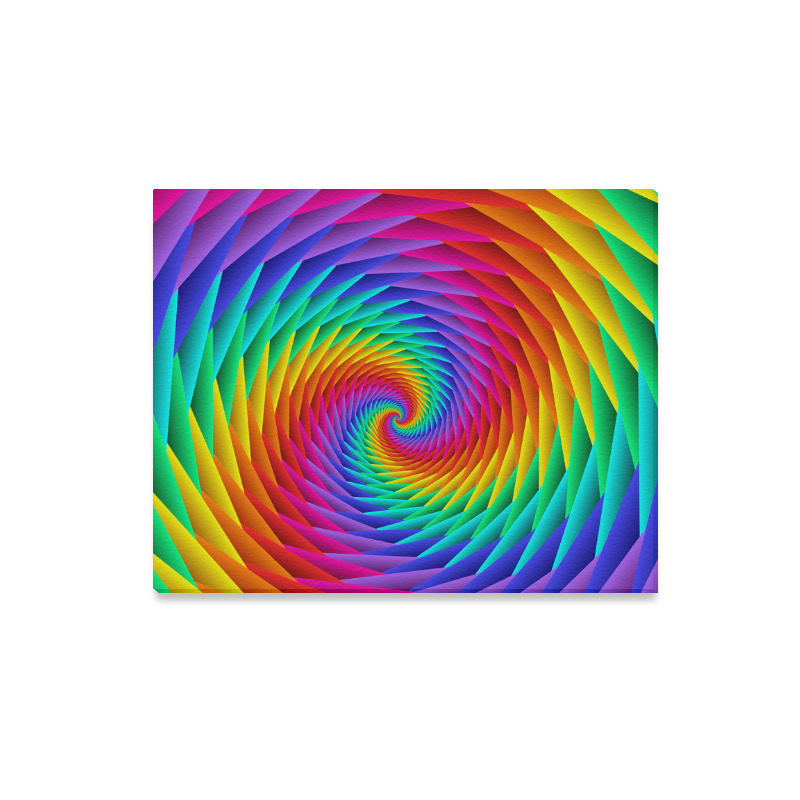 """Psychedelic Rainbow Spiral Canvas Print 20""""x16"""""""