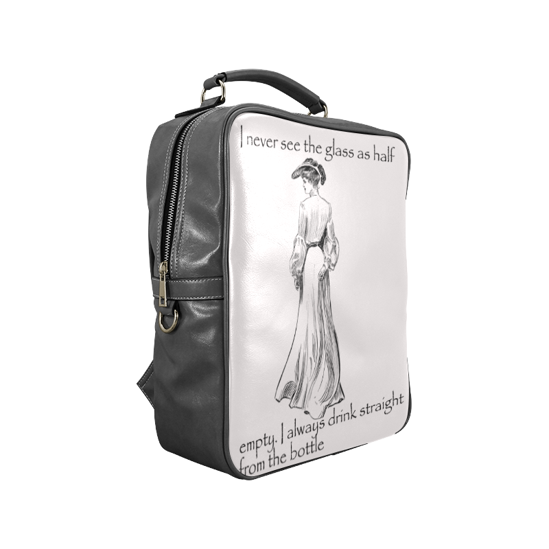 Funny Attitude Vintage Sass I Drink Straight From The Bottle Square Backpack (Model 1618)