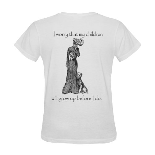 Funny Attitude Vintage Sass My Children Will Grow Up Before I do Sunny Women's T-shirt (Model T05)