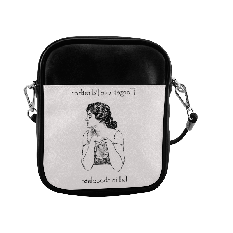 Funny Attitude Vintage Sass Forget Love I'd Rather Fall In Chocolate Sling Bag (Model 1627)