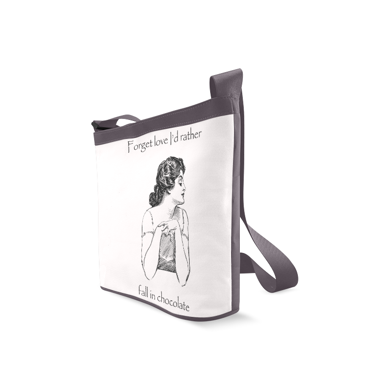 Funny Attitude Vintage Sass Forget Love I'd Rather Fall In Chocolate Crossbody Bags (Model 1613)