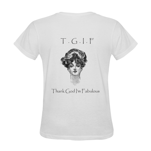 Funny Attitude Vintage Sass TGIF Thank God I'm Fabulous Sunny Women's T-shirt (Model T05)