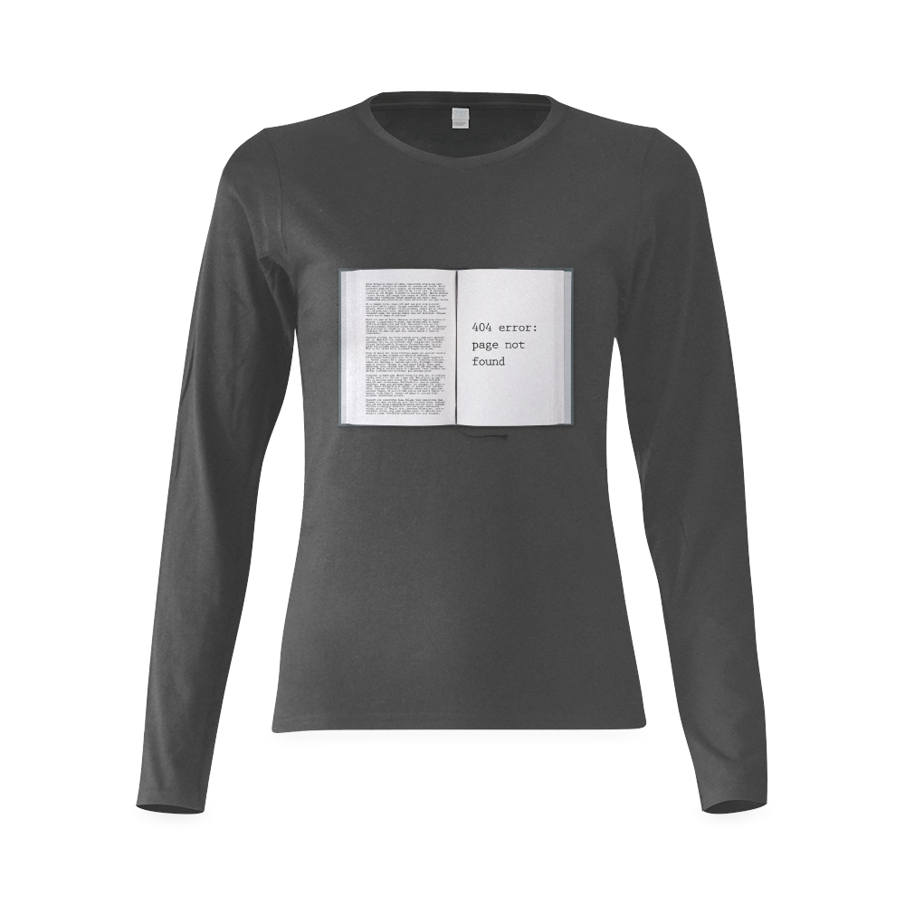 Funny Book Error 404 Page Not Found Geek Sunny Women's T-shirt (long-sleeve) (Model T07)