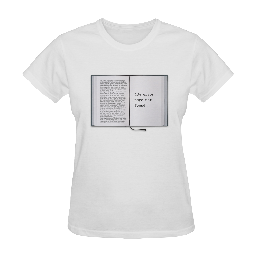 Funny Book Error 404 Page Not Found Geek Sunny Women's T-shirt (Model T05)