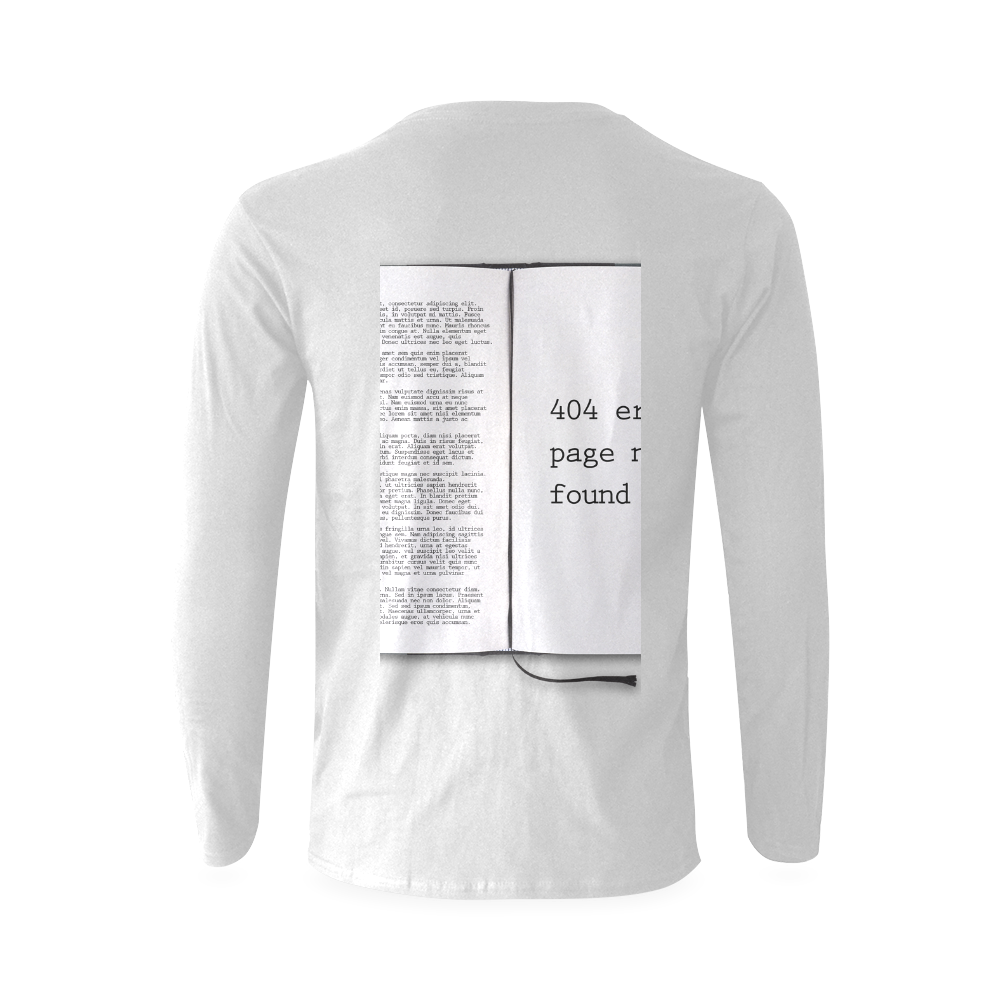 Funny Book Error 404 Page Not Found Geek Sunny Men's T-shirt (long-sleeve) (Model T08)