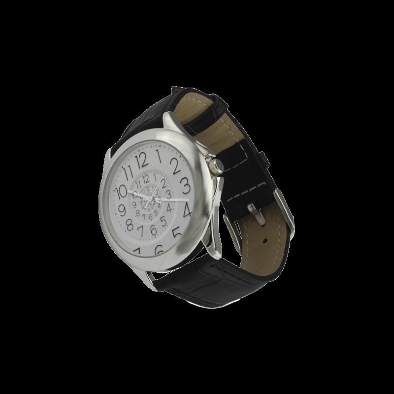 Spiral Clock Droste Clock Women's Classic Leather Strap Watch(Model 203)