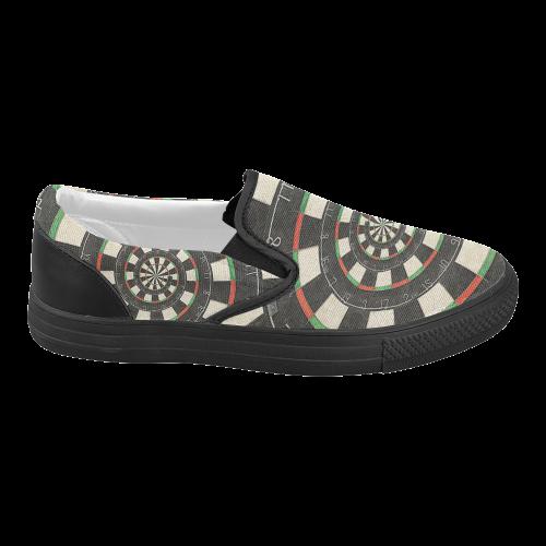 Spiral Dart Board Droste Effect Women's Slip-on Canvas Shoes (Model 019)