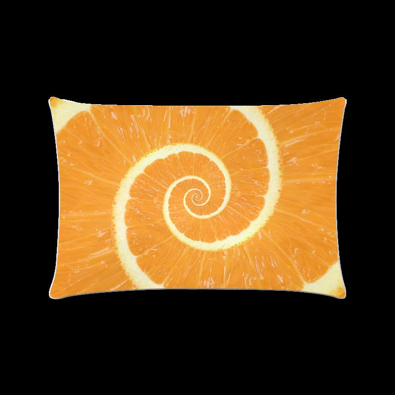 "Spiral Citrus Orange Droste Custom Rectangle Pillow Case 16""x24"" (one side)"