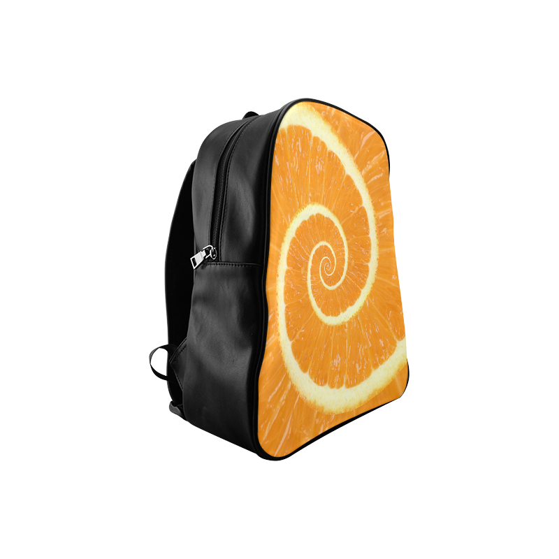 Spiral Citrus Orange Droste School Backpack/Large (Model 1601)