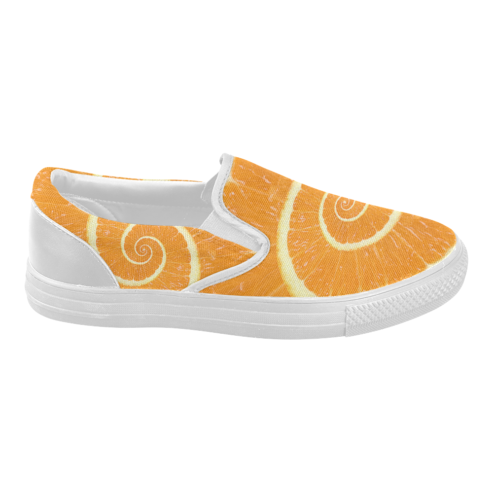 Spiral Citrus Orange Droste Women's Slip-on Canvas Shoes (Model 019)