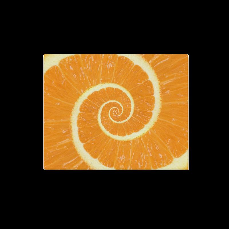 "Spiral Citrus Orange Droste Canvas Print 20""x16"""